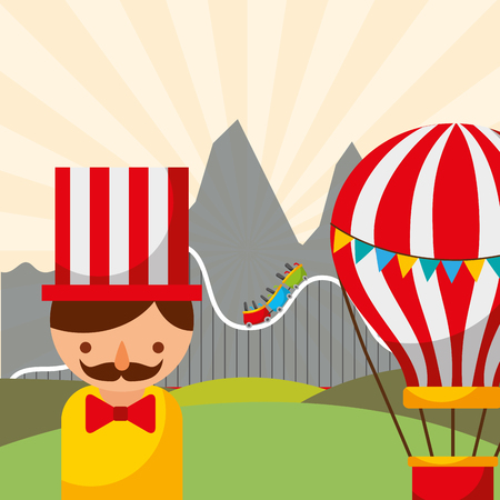man hot air balloon and roller coaster carnival fun fair festival vector illustration