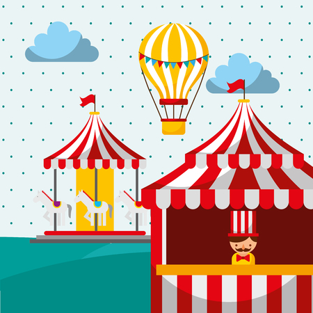 sellerman booth carousel and hot air balloon carnival fun fair festival vector illustration