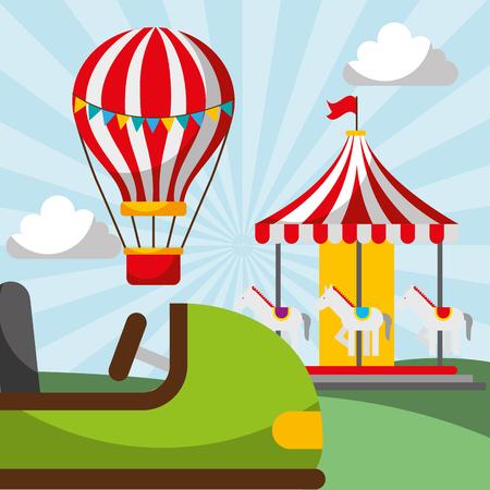hot air balloon carousel and bumper car carnival fun fair festival vector illustration Stock Vector - 111927357
