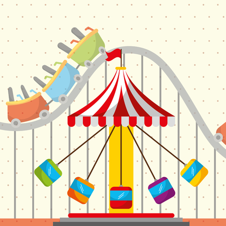 roller coaster chair carousel carnival fun fair festival vector illustration