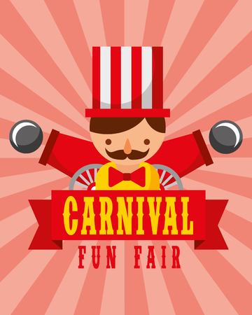 man and cannons entertainment carnival fun fair vector illustration