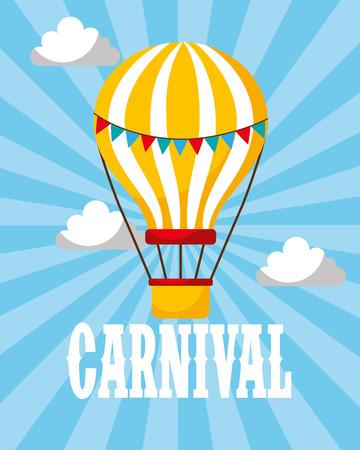 hot air balloon retro carnival fun fair vector illustration Иллюстрация