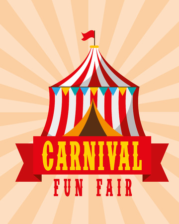 tent circus amusement retro carnival fun fair vector illustration