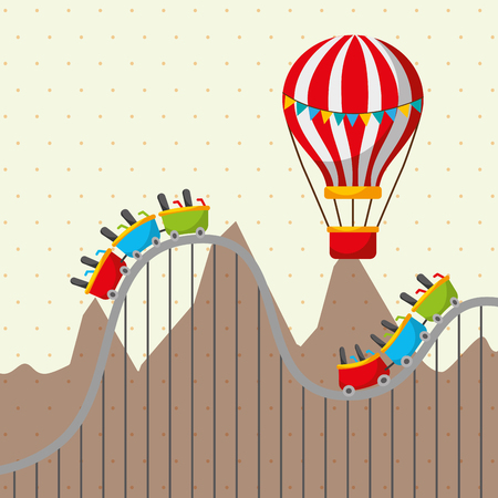 roller coaster and flying hot air balloon mountains carnival fun fair festival vector illustration