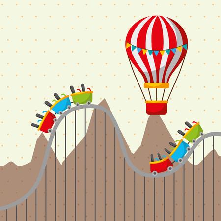 roller coaster and flying hot air balloon mountains carnival fun fair festival vector illustration