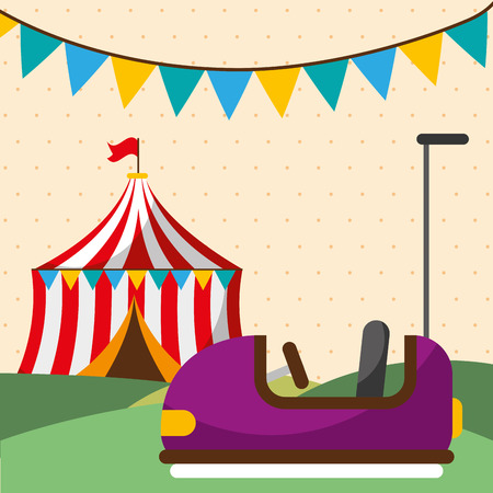 entertainment bumper car tent carnival fun fair festival vector illustration