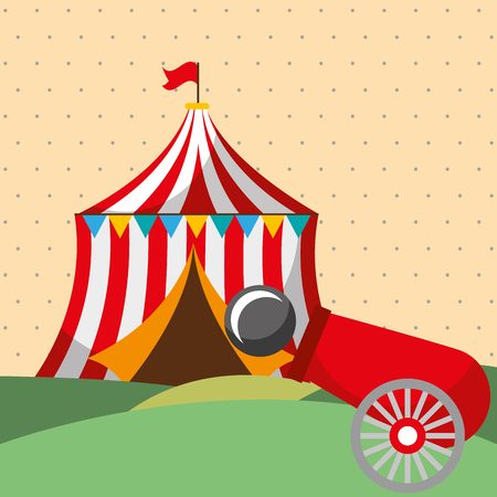 tent shooting cannon carnival fun fair festival vector illustration