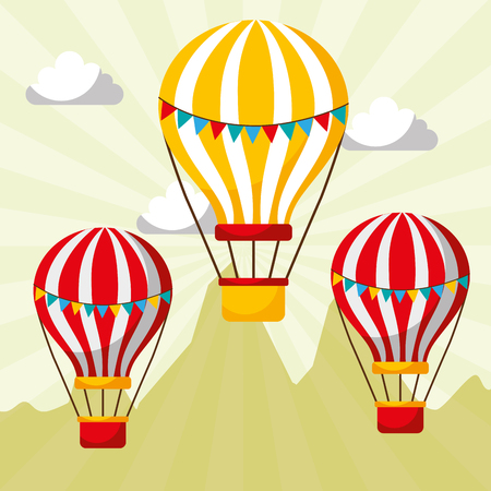 flying hot air balloons carnival fun fair festival vector illustration