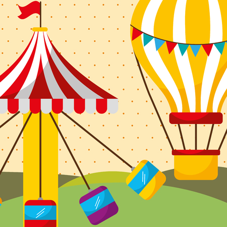 carousel with seats and hot air balloon carnival fun fair festival vector illustration Çizim