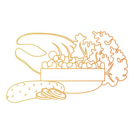 steak fish and vegetables vector illustration design Stock Vector - 111927374