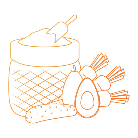 flour sack with vegetables vector illustration design