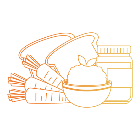 fresh bread with rice and carrot vector illustration design Illustration