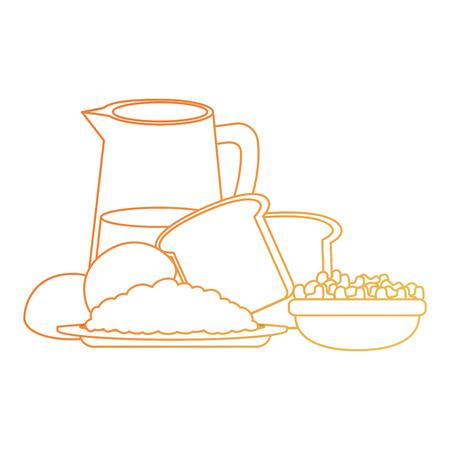 fresh bread toast with water jar vector illustration design