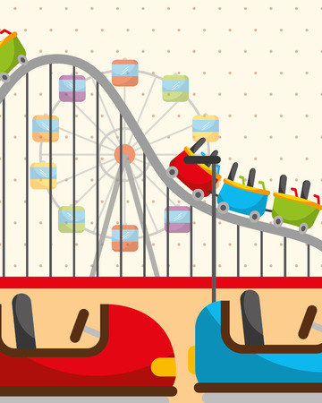 roller coaster ferris wheel and bumper cars carnival fun fair festival vector illustration
