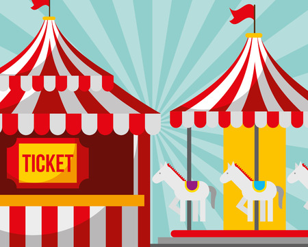 ticket booth and carousel carnival fun fair festival vector illustration