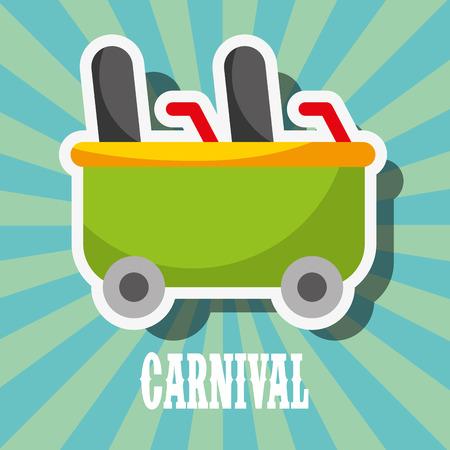 roller coaster car carnival fun fair festival vector illustration