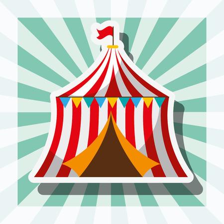 circus tent retro carnival fun fair festival vector illustration