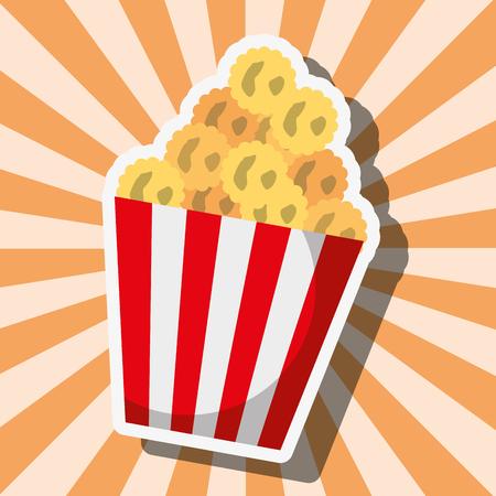 popcorn food in striped bucket on sunburst vector illustration Illustration