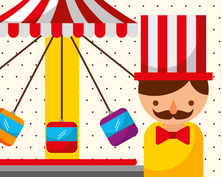 man and swinging carousel with seats carnival fun fair festival vector illustration