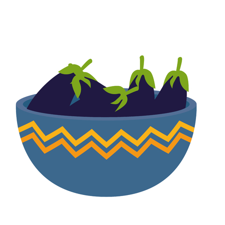 fresh eggplant in bowl vegetarian food vector illustration design