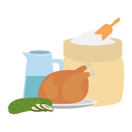 flour sack with water and chicken vector illustration design Standard-Bild - 111927415