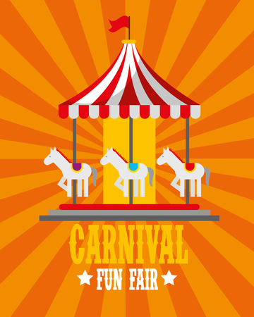 carousel horses retro poster carnival fun fair vector illustration