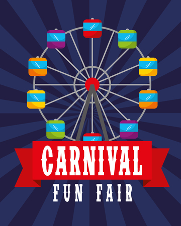 ferris wheel retro poster carnival fun fair vector illustration