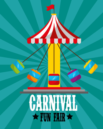 swinging carousel with seats retro carnival fun fair vector illustration