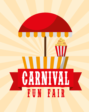 food booth retro poster carnival fun fair vector illustration