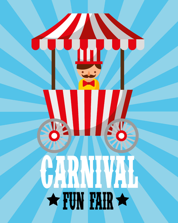 sellerman food booth retro carnival fun fair vector illustration