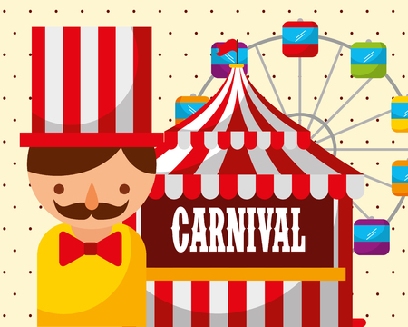man tent ferris wheel carnival fun fair festival vector illustration Illustration