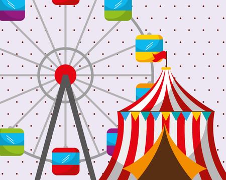 circus tent ferris wheel carnival fun fair festival vector illustration