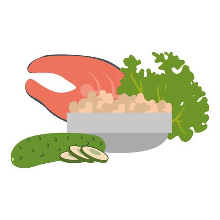 steak fish and vegetables vector illustration design Stock Vector - 111927441