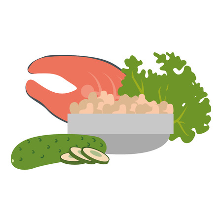 steak fish and vegetables vector illustration design