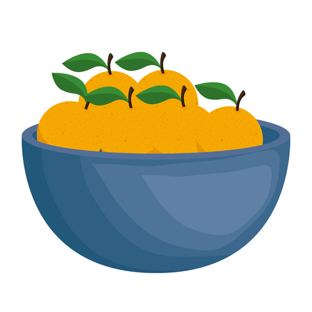 fresh oranges in bowl healthy food vector illustration design
