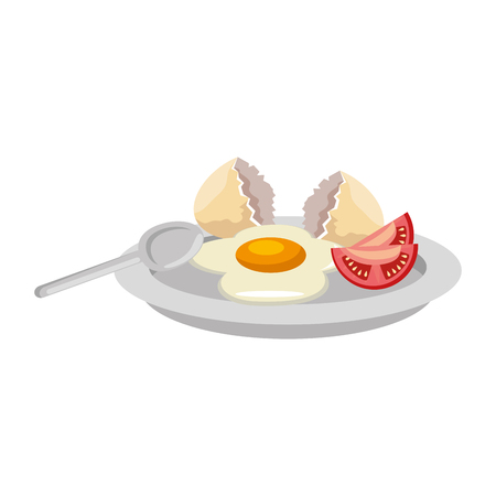dish with egg fried and tomato vector illustration design Stockfoto - 106559257