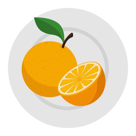 fresh oranges in dish healthy food vector illustration design Illustration
