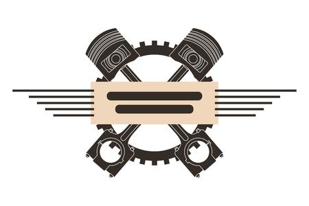 crossed pistons gear engine industry automotive vector illustration Illustration
