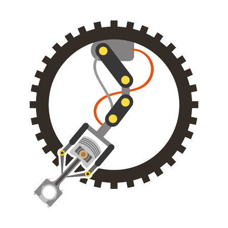 industry automotive robotic arm gear technical vector illustration