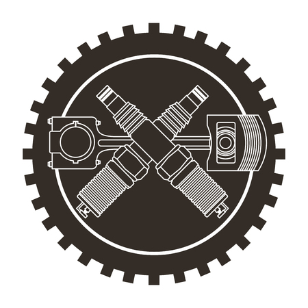 industry automotive piston and spark plugs gear mechanic vector illustration Archivio Fotografico - 106546596