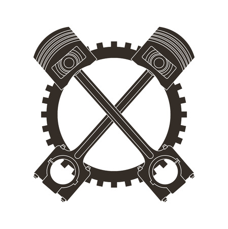 crossed pistons gear cogwheel industry automotive vector illustration Banco de Imagens - 106559258