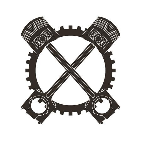 crossed pistons gear cogwheel industry automotive vector illustration