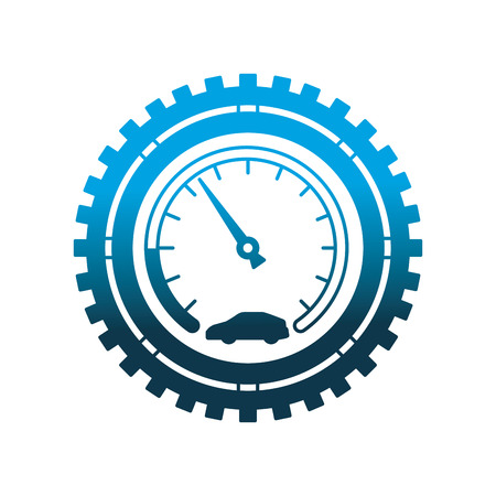 speedometer car gear mechanical industry automotive vector illustration neon design