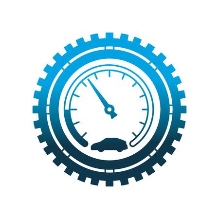 tachimetro auto ingranaggi industria meccanica automobilistica illustrazione vettoriale neon design Vettoriali