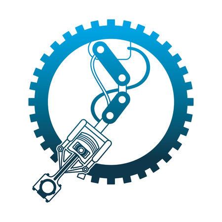 industry automotive robotic arm gear technical vector illustration neon design
