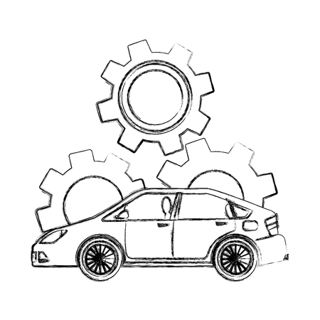 car gear engine industry automotive vector illustration hand drawing
