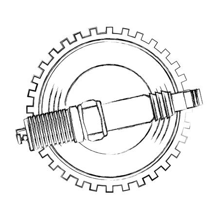 Bougie d'allumage de l'industrie des pièces détachées automobile illustration vectorielle dessin à la main Vecteurs