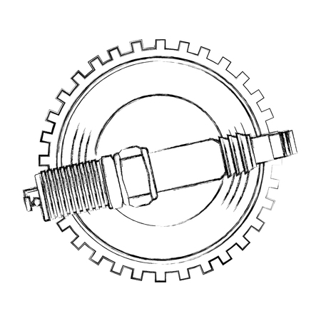 spark plug spare part industry automotive vector illustration hand drawing