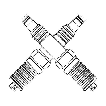 Croisé des pièces de bougies d'allumage de l'industrie automobile vector illustration dessin à la main