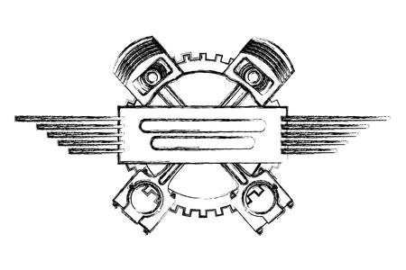 pistoni incrociati ingranaggio motore industria automobilistica illustrazione vettoriale disegno a mano